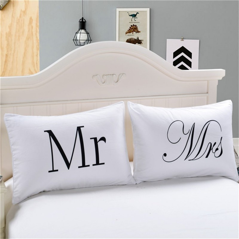 Mr & Mrs Pillowcase Cushion Cover Case 2pcs