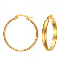 Stainless Steel Elegant Gold Hoop Earrings