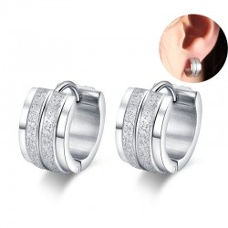 Small Hoop Earrings for Women Stainless Steel Earings Silver color Cuff Korean Style