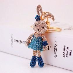 Crystal Rabbit & Flower Keychain Keyring
