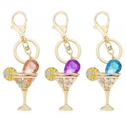 Wine Glass Cup & Lemon Crystal Keychain Keyring