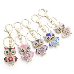Cute Owl Crystal Key Chains Rings Holder For Women Flower Purse Bag Buckle Pendant For Car Keyrings