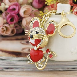 Dalaful Red Heart Mouse Bowknot Tail Crystal Bag Pendant Keyrings Keychains For Car key chains holde