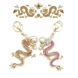 Crystal and gold dragon keyring