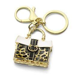 Porte-clès leoparde avec cristaux pour boursette