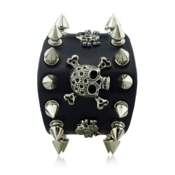 Unique Rock Spikes Rivet Gothic Skeleton Skull Punk Biker Wide Cuff Leather Bracelet S059