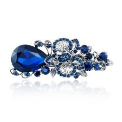 Groot Blauw Kristallen Bloem Haar Klem Haarspeld