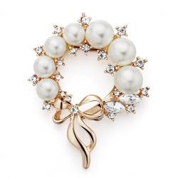 Pearl Flower Rhinestone Wedding Clip Brooch Pin