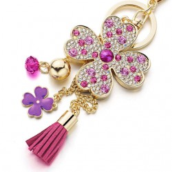 Lucky Four Leaves Clover Crystal Keychain Keyring