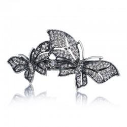 Double Papillon Pince à Cheveux en Cristal