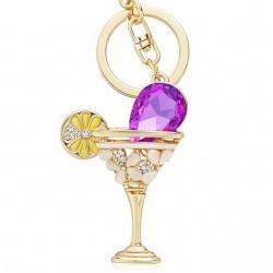 Wijnglas Beker & Citroen Kristal Sleutelhanger