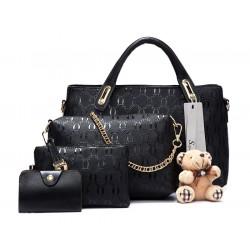 Leder Schultertasche Handtasche 4tlg