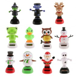 Cute Solar Powered Bobbling Dancing Figure Toy Car Home Desk Decoration Snowman Classic Toys for Chi