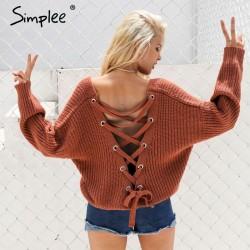 Rugloze gebreide trui - sweater pull over