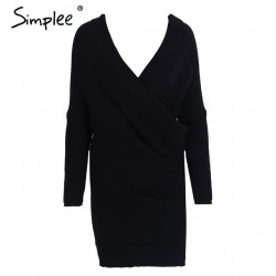Simplee Sexy V neck cross knitting sweater dress Women elegant long sleeve pullover female winter dr