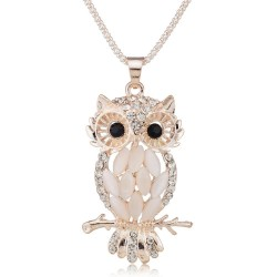 Stylish Gallant Sparkling Owl Crystal Charming Flossy Necklaces  Pendants Necklace For Women M099