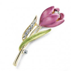 Elegant Tulip Flower Brooch Pin Crystal Costume Jewelry Clothes Accessories Jewelry Brooches For We