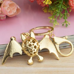Dalaful Lovely Smiling Bat Crystal Metal Bag Pendant Keyrings Keychains For Car key chains holder fo