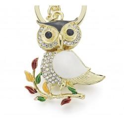Sitting Crystal Owl Keychain Keyring