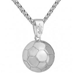 Calcio - pallone da rugby - collana in acciaio inossidabile con pendente a pallavolo