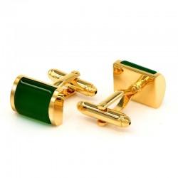 Gemelos de lujo de oro opal verde