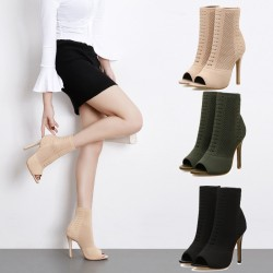 Fashionable peep toe - high heel - ankle boots - pumps