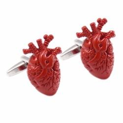 Trendige Manschettenknöpfe mit rotem Herz