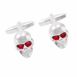 Rode Kristallen Ogen Skelet Hoofd Manchetknopen