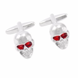 Skull with red eyes - skeleton head cufflinks