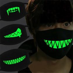 Masque lumineux Halloween - horreur - coton - lueur dans l'obscurité