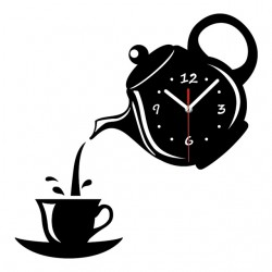 Mirror Effect Coffee Cup Shape Wall Clock
