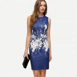 Modna Drukowana Mini Sukienka