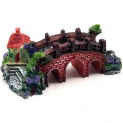 Akwariowy dekoracyjny żywiczny most - zamek
