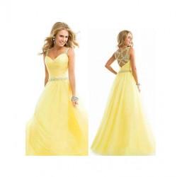 Vestido largo de chiffon amarillo elegante