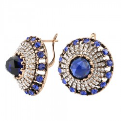 Natural Blue Stone Vintage Crystal Earrings