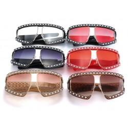 Perłowa Ramka Modne Kwadratowe Okulary Przeciwsłoneczne