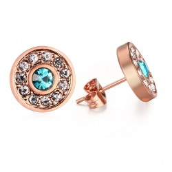 Vnox Elegant Women Stud Earrings Pink Gold color Round Stainless Steel Earings Female Gift