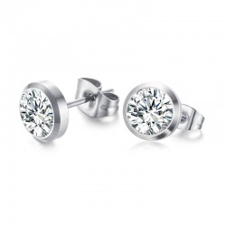 Vnox CZ Stone Classic Simple Stud Earrings for Women Silver color Elegant Female Earings Jewelry