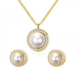 Vnox Imitation Pearl Jewelry Sets for Women Gold-color Crystal Bridal Jewelry Set