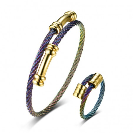 Vnox Multi Color Adjustable Cuff Bracelet Bangle Ring for Women Jewelry Set Stainless Steel Twiste