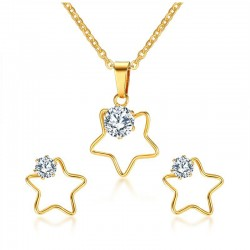 Vnox Five Stars Necklace and Earrings Jewelry Sets for Women Fashion CZ Stone Jewelry Sets Meaningfu