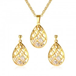 Hollow Out Drops Necklace & Earrings Jewellery Set
