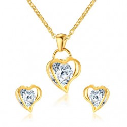 Heart & Crystal Necklace & Earrings Jewellery Set