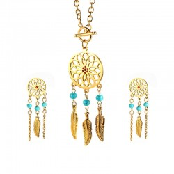 Vnox Womens Dreamcatcher Necklace and Earrings Jewelry Sets Gold Color Stainless Steel Female Bohem