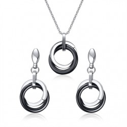 Vnox Elegant Ceramic Round Women Jewelry Sets Stainless Steel Female Ladies Necklace Earrings