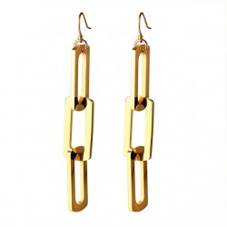 Vnox Interlocked Triple Pin Long Drop Earrings for Women Paper Clip Pins Shape Stainless Steel Trend