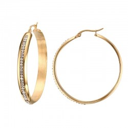 Vnox Brand Hoop Earrings Big With CZ Gold-color Shine Circle Earring for Women Trendy Jewelry Brinco