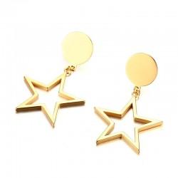 Pięcioramienne Gwiazdy Złote Kolczyki
