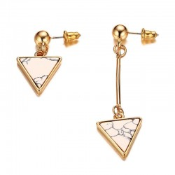Vnox Irregular Women Drop Earrings Natural Stone Triangle Arrow Shape Stainless Steel Elegant Weddin