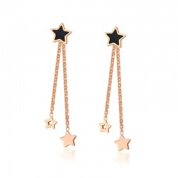 Vnox Cute Star Stud Earrings Rose Gold color Stainless Steel Long Earrings Not Allergic